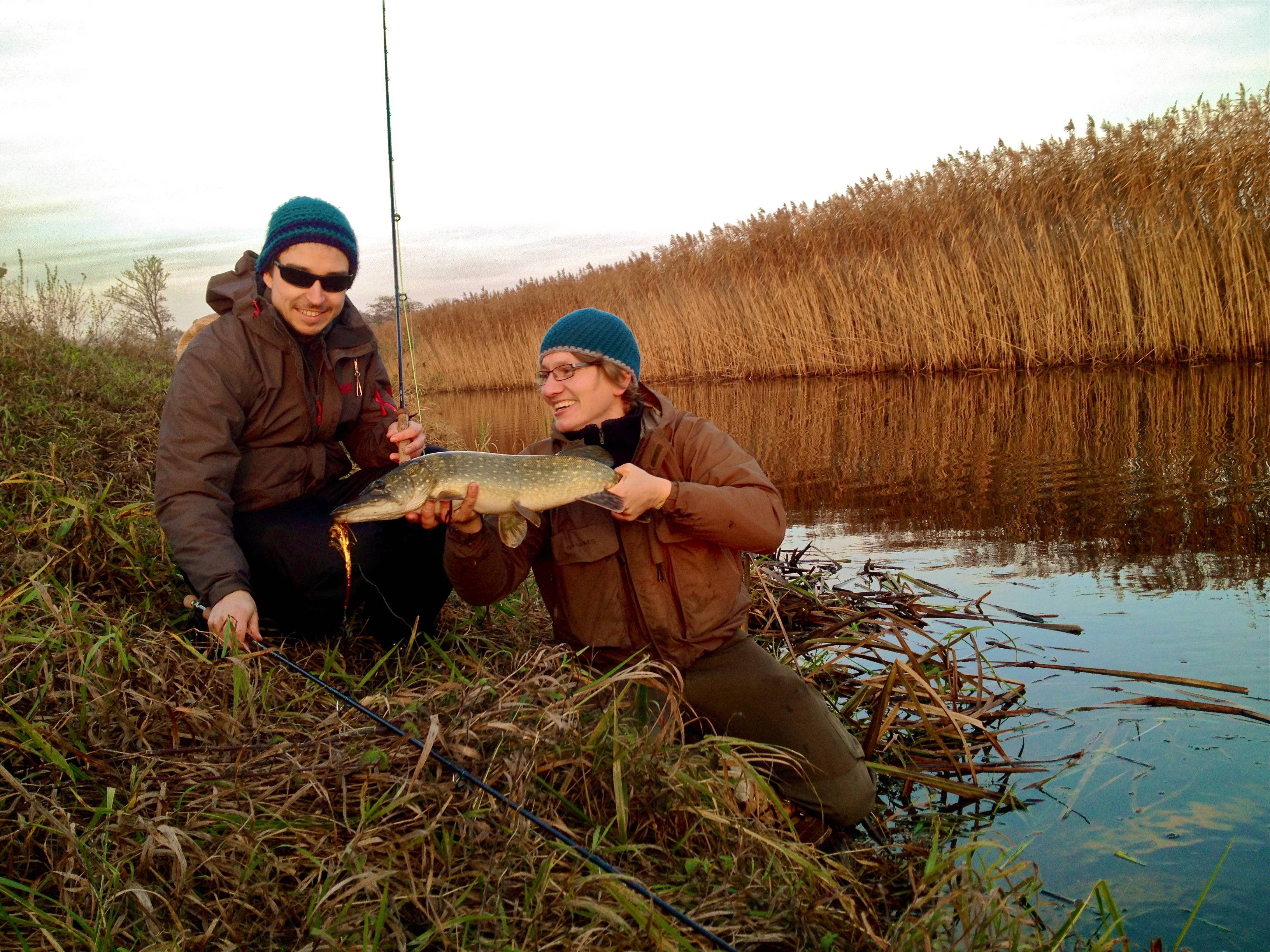 Autumn 39 14 pike fly fishing with anni from finnland flyrus for Pike fly fishing
